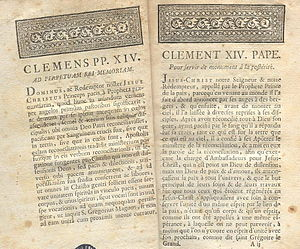 Universidad de San Ignacio - The papal brief, Dominus ac Redemptor, of Pope Clement XIV.