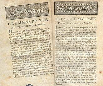 Universidad de San Ignacio - The papal brief, Dominus ac Redemptor, of Pope Clement XIV.