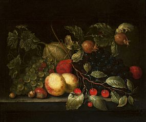 Still life with a sprig of cherry and pomegranate.