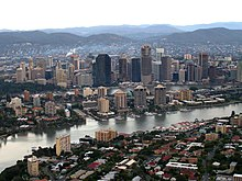 Brisbane seen from air, Brisbane river.jpg