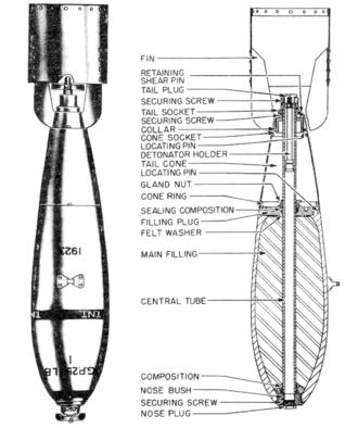 General-purpose bomb - Diagram of a British, 250lb General Purpose Bomb Mark 1, used during the early part of World War 2