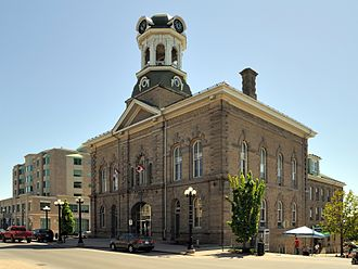 Brockville - Victoria Hall, now the site of Brockville's City Hall, was built in 1862-64 as a concert hall in front and a butchers' market in the rear