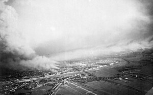 German bombing of Rotterdam - Rotterdam's burning city centre after the bombing.