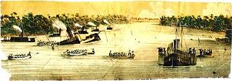 Brazilian ironclad Rio de Janeiro - Battleship Rio de Janeiro sunk by a torpedo in front of Curuzú (painted by Adolfo Methfessel).