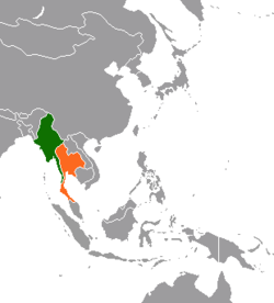 Map indicating location of พม่า and ไทย