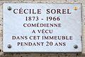 Cécile Sorel plaque - 7, Quai Voltaire, Paris 7.jpg