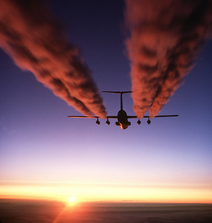 Environmental impact of aviation - A C-141 Starlifter leaves contrails over Antarctica.
