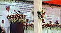 C.P. Joshi addressing at the foundation stone laying ceremony of the Four Laning Project of Gomati Chauraha-Udaipur, District Rajasamand in Rajasthan. The Chief Minister of Rajasthan, Shri Ashok Gehlot is also seen.jpg