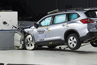 Insurance Institute for Highway Safety - Frontal moderate overlap crash test of a 2019 Subaru Ascent.