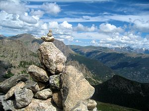 History of Rocky Mountain National Park - An example of a modern cairn at Flattop Mountain