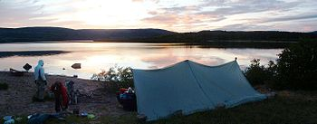 English: Campsite on George River, Quebec Fran...