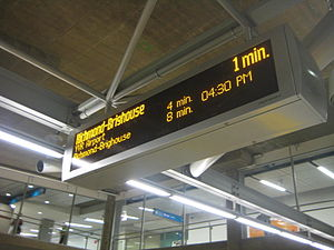 Canada Line - Real-time information is provided on every station platform.
