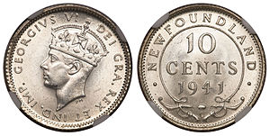 Newfoundland ten cents - Image: Canada Newfoundland George VI 10 Cents 1941C