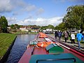 Canal boat arriving at Trevor Basin - geograph.org.uk - 1570255.jpg