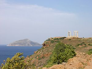 """Patroclus (admiral) - The """"Island of Patroclus"""", seen from Sounion"""