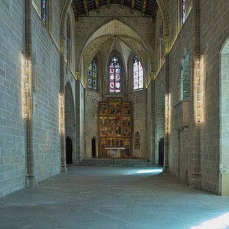 Barcelona City History Museum - Saint Agatha chapel (14th century) with its gothic altarpiece (15th century) MUHBA Plaça del Rei