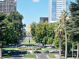 Capitol Mall - Westward view of the Capitol Mall, from the California State Capitol Museum Park.