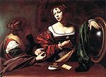 Caravaggio, Michelangelo Merisi da - Martha and Mary Magdalene - c. 1598.jpg