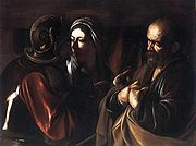 The Denial of Saint Peter, c. 1610. Oil on canvas, 94 x 125 cm. Metropolitan Museum of Art, New York. In the chiaroscuro a woman points two fingers at Peter while a soldier points a third. Caravaggio tells the story of Peter denying Christ three times with this symbolism.