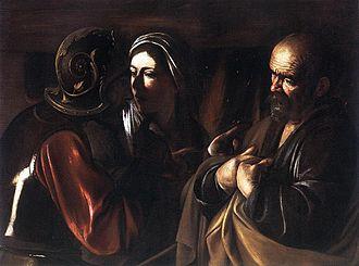 La Fábula de Polifemo y Galatea - The Denial of St. Peter by Caravaggio (c. 1610)