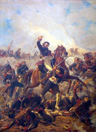 Battle of Maipú - Loading Colonel Santiago Bueras during the battle.