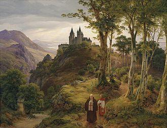 Karl Friedrich Lessing - Image: Carl Friedrich Lessing Romantische Landschaft mit Klosteranlage