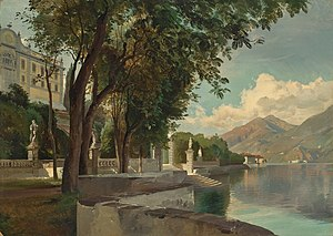 Villa Carlotta - Die Villa Carlotta am Comer See by Carl Hummel (1855)
