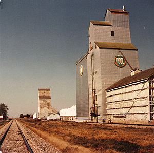 Cartwright, Manitoba - Manitoba Pool Elevator and Federal Elevator in 1985, Cartwright.