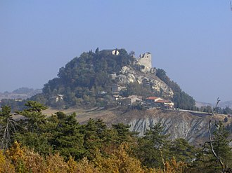 Canossa - View of the Rock of Canossa with the ruins of the castle visible at the top