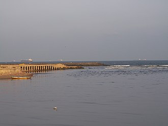 Cooum River - Causeway at the mouth of Cooum in the Bay of Bengal