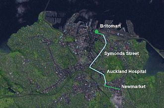 Central Connector, Auckland - The route of the Central Connector. The light blue section shows the area of major street upgrades that occurred as part of the project.