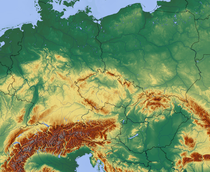 Datei:Central Europe relief map with waterbodies and borders.png ...