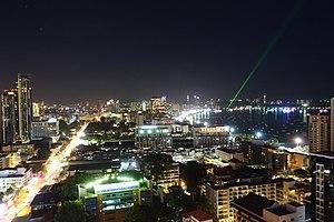 Central Pattaya, Thailand at night in 2017