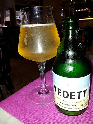 Duvel Moortgat Brewery - A Vedett blanche beer bottle.