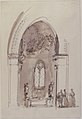 Chapel in a Gothic Church (recto); Outline sketch of an oval form (verso) MET 61.136.5.jpg