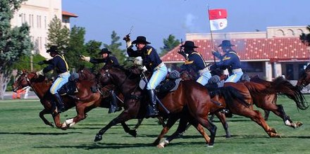 Horse Cavalry Detachment of the U.S. Army's 1st Cavalry Division demonstrating a mock cavalry charge at Fort Bliss, Texas Charge3.jpg