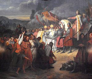 Widukind - Charlemagne (742–814) receiving the submission of Witikind at Paderborn in 785, by Ary Scheffer (1795–1858). Versailles.