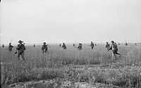 A dispersed group of infantry moving through a field