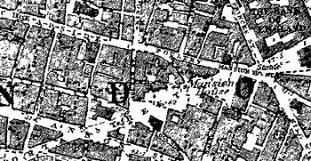 English: An 1882 map of Cheapside in London, E...