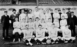 Football team - Chelsea's football squad in 1905 pictured with support staff