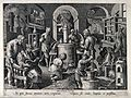 Chemists and workers operating distilling apparatus in a lab Wellcome V0025522.jpg