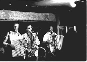 Zydeco - Chenier Brothers performing at Jay's Lounge and Cockpit, Cankton, Louisiana, Mardi Gras, 1975
