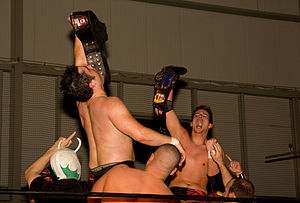 Chikara Campeonatos de Parejas - Former two-time champions, 3.0, celebrating their first title win over F.I.S.T.