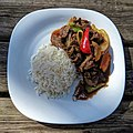 Chilli beef and rice at Highgate Cricket Club, Haringey, top focus position 2.jpg