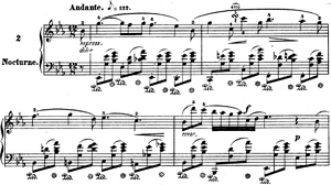 Nocturnes, Op. 9 (Chopin) - The opening bars and main theme.