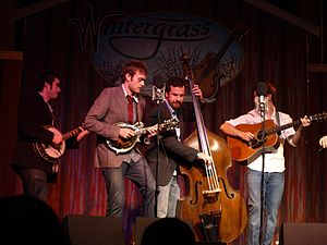 Punch Brothers - Noam Pikelny (banjo), Chris Thile (mandolin), Greg Garrison (bass), and Chris Eldridge (guitar) at Wintergrass, 2008