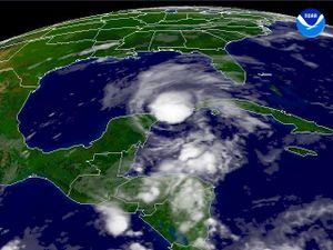 Hurricane Claudette (2003) - Tropical Storm Claudette hitting the Yucatán Peninsula on July 11