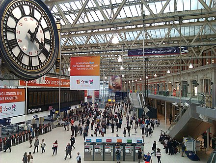 Waterloo station clock, concourse, and retail balcony, 2012 Clock and view over concourse, Waterloo Station, London.jpg
