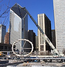 Cloud Gate construction site at Millennium Park with support ring visible