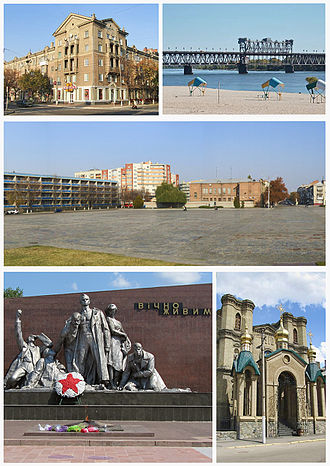 Kremenchuk - Top left: Soborna Street, Top right: Dnieper River and Kryukov Bridge, Center: Victory Square, Bottom left: Memorial of Vichno Zhyuyn, Bottom right: Saint Nicolas Church
